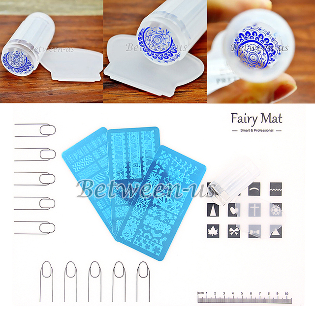 Venta caliente PRO Nail Art Soft Silicone Mat Espacio de Trabajo Protector de la Cubierta Del Arte Del Clavo Claro Stamper Scraper Estampar Placas de Uñas Kit