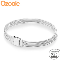 2019 NEW Authentic 925 Sterling Silver Reflexions Multi Snake Chain Bracelet Charm Clip Fit Pandora European Bracelets Jewelry