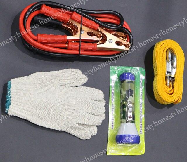 5 ШТ. Набор Booster Jumper Cables Предохранители Буксировочный Трос Ремень Мигает Перчатки Сумка Для Хранения