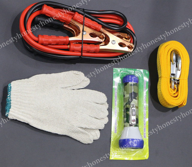 5PCS Set Booster Jumper Cables Fuses Tow Rope Strap Flashing Gloves Storage Bag