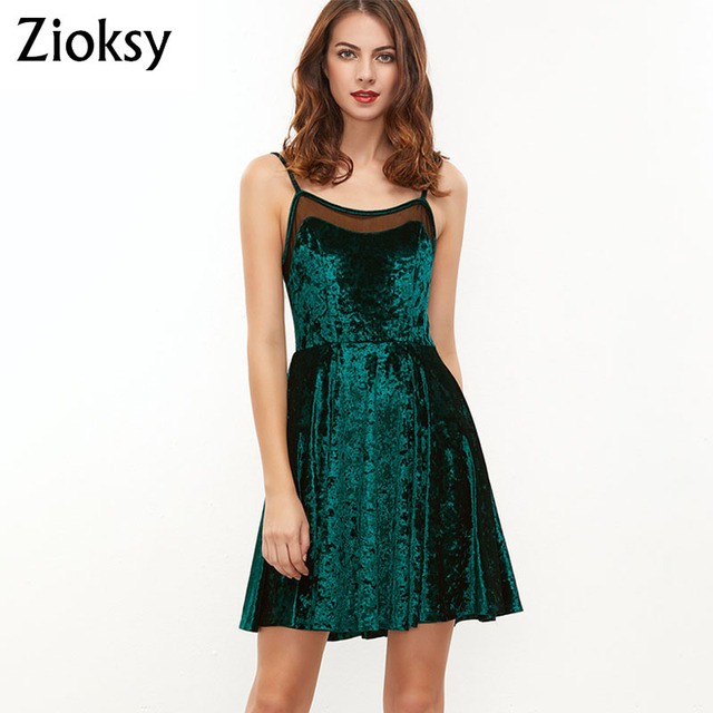 b5c030a3f82f Women Summer Sexy Spaghetti Strap Mini Dresses Elegant Solid Velvet Club  Party Backless Dark green Bodycon Dress