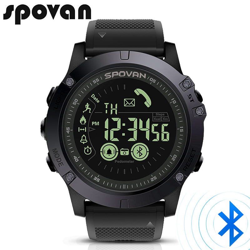 SPOVAN Smart outdoor Men's Watch Bluetooth Sport LED Digital Watches 50m Waterproof Stopwatch Men wristwatch Relogio Feminino цена и фото