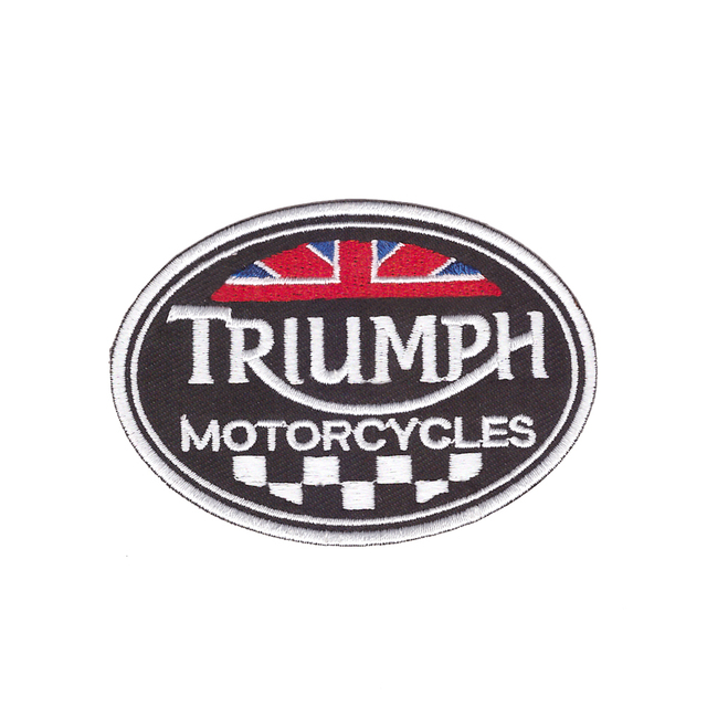 Tutti piace Nuovo stile Triumph Motorcycles logo Ricamato FAI DA TE Accessori Moto Giacca Biker Vest Toppe E Stemmi