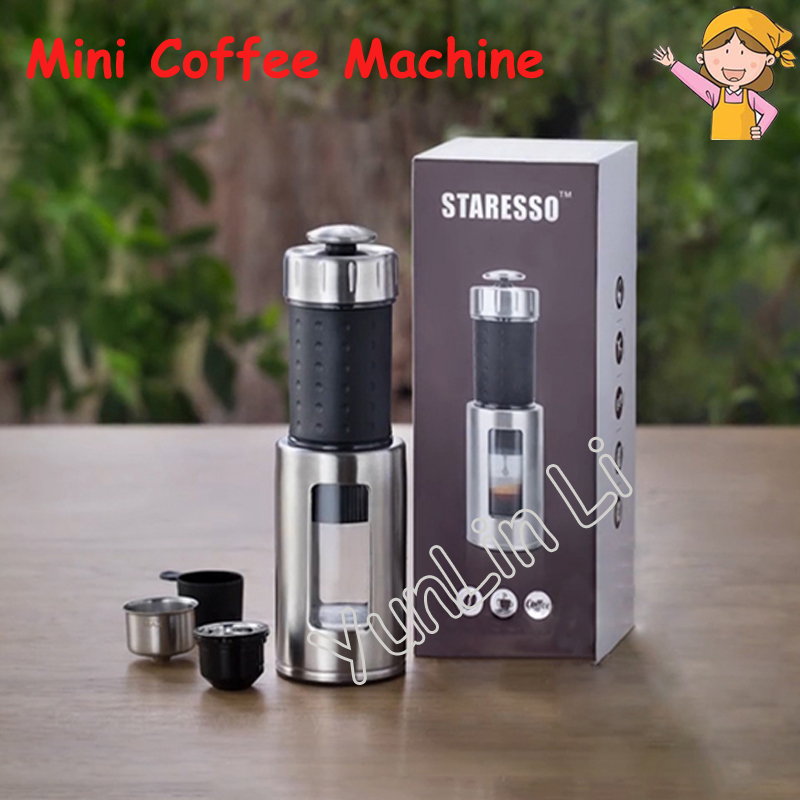 Portable Mini Coffee Machine Manual Italian Ice Drop Milk Foam Machine Multi Functional Espresso Coffee Maker 80ml Capacity