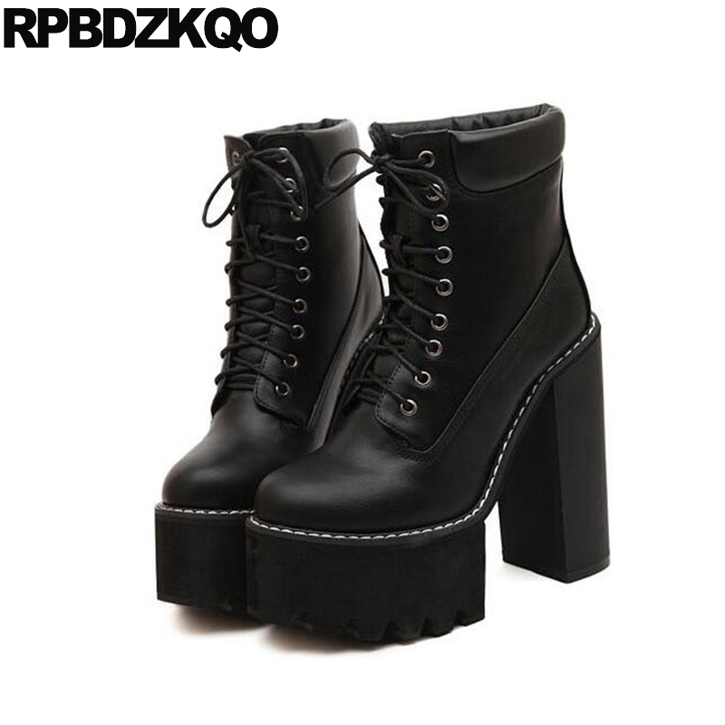 High Heel Fetish Shoes Extreme Black Booties Lace Up Platform Fur Waterproof Winter Boots Women Brown Ankle Round Toe Short 2017 round toe women winter boots denim design high top lace up shoes butterfly knot embellished crystal decor stylish short booties