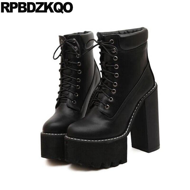 9d1a9491c6f561 Talon haut fétiche chaussures extrême noir chaussons à lacets plate forme  fourrure imperméable hiver bottes femmes marron cheville bout rond court  2017 dans ...