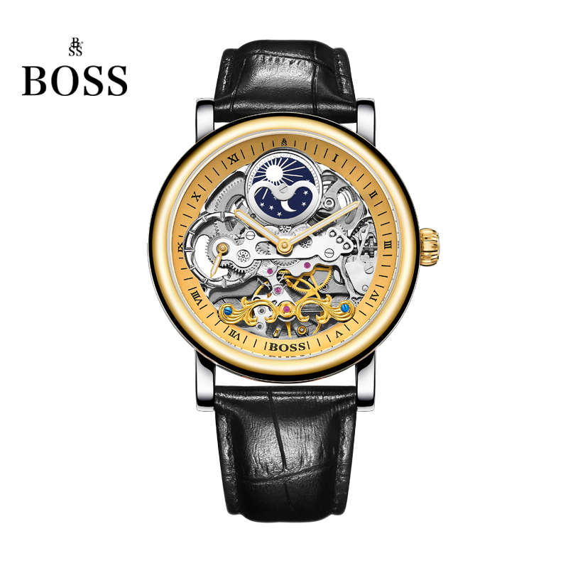 BOSS Germany watches men luxury brand skeleton moon phase automatic mechanical watch Earl Comte Graf series relogio masculino relogio masculino tevise luxury brand watch men tourbillon automatic mechanical watches moon phase skeleton wrist watch clock