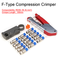 Coaxial Cable Manual Crimping Tool Set Kit For F Type Connector RG58 RG59 RG6 Coax Cable Crimper With Compression Connectors|Pliers| |  -