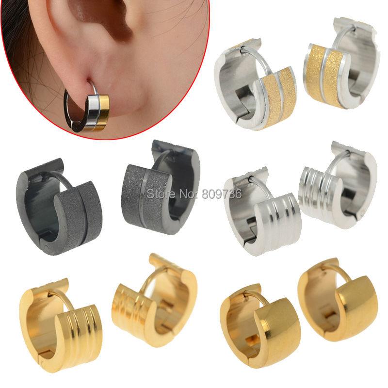 Online Punk Mens 316l Stainless Steel Huggie Hoop Earrings Gauges Women Golden Ear Jewelry Gift Top Quailty Xmas Drop Ship Aliexpress Mobile