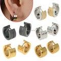 Punk Mens 316L Stainless Steel Huggie Hoop Earrings Gauges Women Golden Ear Jewelry Gift Top Quailty Xmas Gift Drop Ship