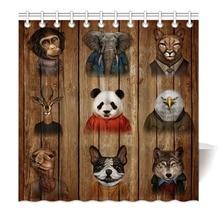 HommomH Shower Curtain Weights Resistant Waterproof Fabric With Hooks Bathroom Funny Animal Sir Monkey Panda Deer Elephant Dog deer water resistant shower curtain