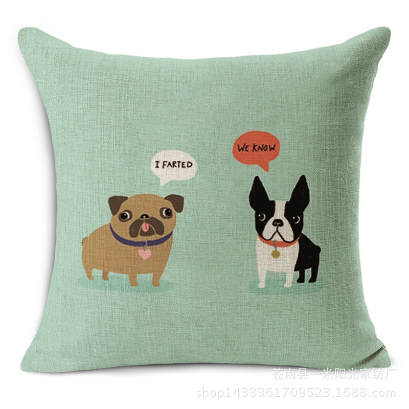 Comwarm Cute Funny Cartoon Puppy Chihuahua Dogs Throw Pillow Cotton Linen Cushion For Modern Fashion Couch Home Decor HH113