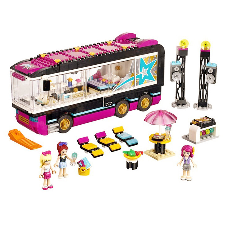 684pcs DIY Friends lol Pop Star Tour Bus Figure building blocks Bricks toys for children Compatible with birthday gift 10406 girls pop star show stage building blocks set 448pcs assemble toys compatible with blocks for girls gift