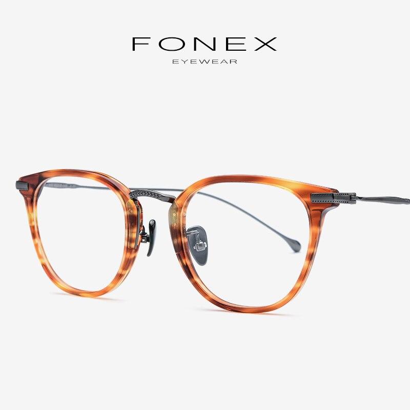 Acétate pur B titane lunettes cadre hommes carré Prescription myopie lunettes optiques femmes rondes lunettes corée lunettes 839