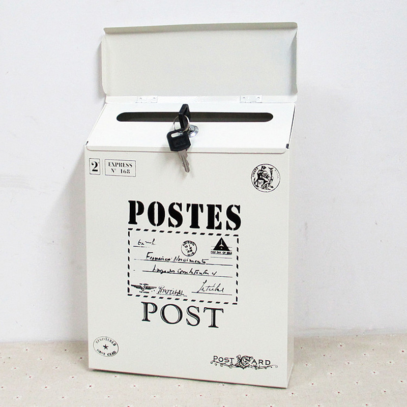 Creative Mailbox Metal Vintage Tin Mail Box Post Boxes Bucket Rustic Wrought Iron Mailbox Newspaper Letter Boxes With Lock