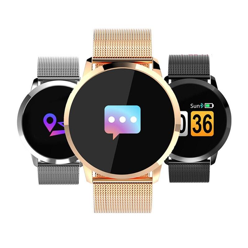 Newwear Q8 Reloj Inteligente pantalla OLED a Color Electrónica inteligente Smartwatch de Moda Rastreador de Ejercicios Bluetooth hombres Hombre Mujer