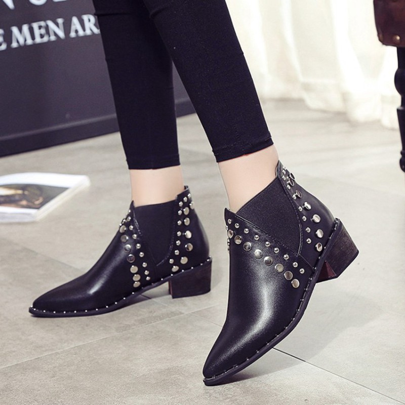 Image 2 - Cuculus PU Leather Ankle Boots For Women 2020 Autumn New Rivet Pointed Toe Rubber Shoes Black Wedges Boots Women 35 39 1423Ankle Boots   -