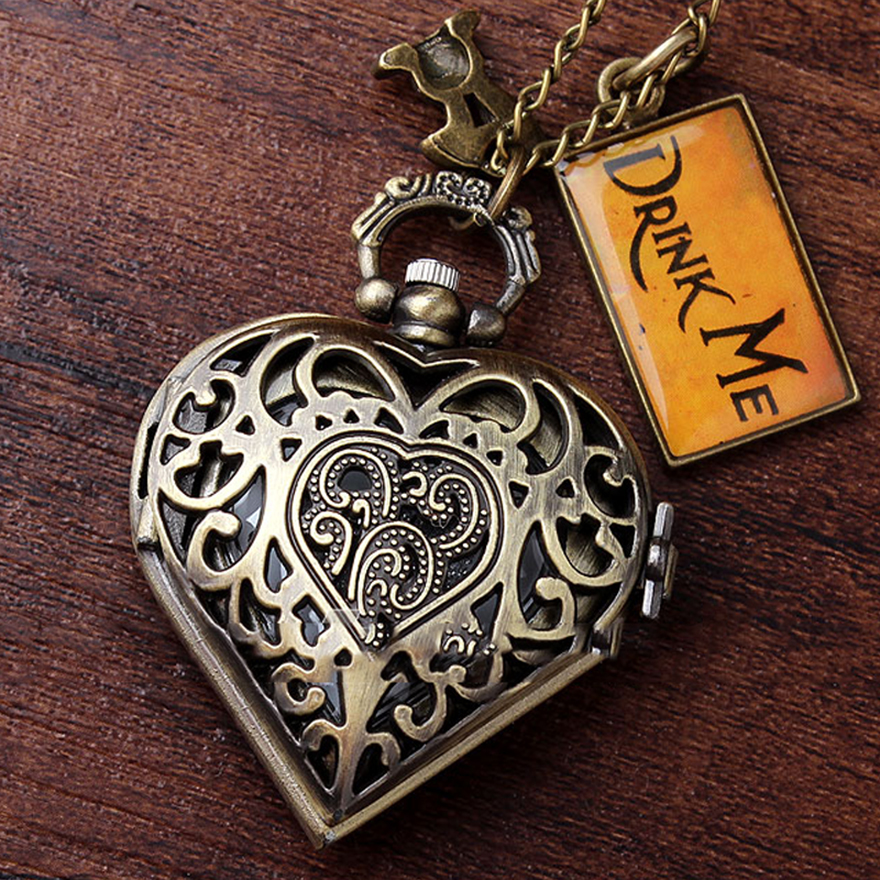 Fashion Bronze Heart Shape Hollow Case Drink Me Alice In Wonderland Pocket Watch Necklace Women Lady Girl Love Best Xmas Gift