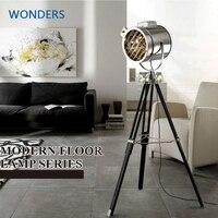 Industrial Bar Nordic American Creative Studio Retro silver and golden Floor Lights Tripod Searchlight Additional Net Floor Lamp
