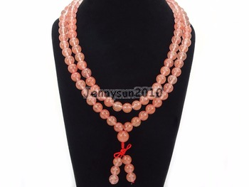 Natural 10mm Cherry Quart-z Gems Stone Buddhist 108 Bead Prayer Mala Long Necklace Multi-Purpose 5Strands/Pack