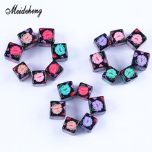 Acrylic Needlework Square Flower Beads Bracelet Necklace Black Colorful Charms Jewelery Accessories Popular WomensGifts