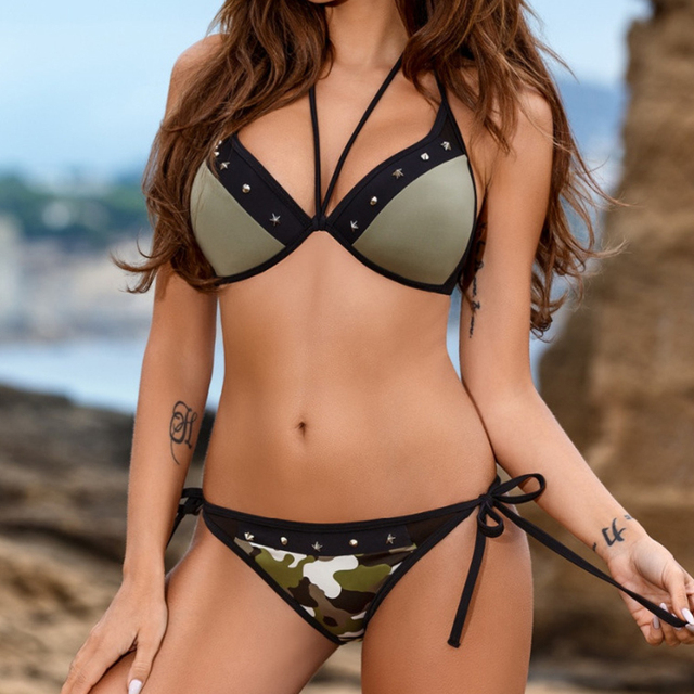 3dc7cf82cfa KINGTUT 2018 New Arrival Camouflage Swimsuit Plus Size Trikini Women s  Swimming Suit Sling Bikini Set Strappy