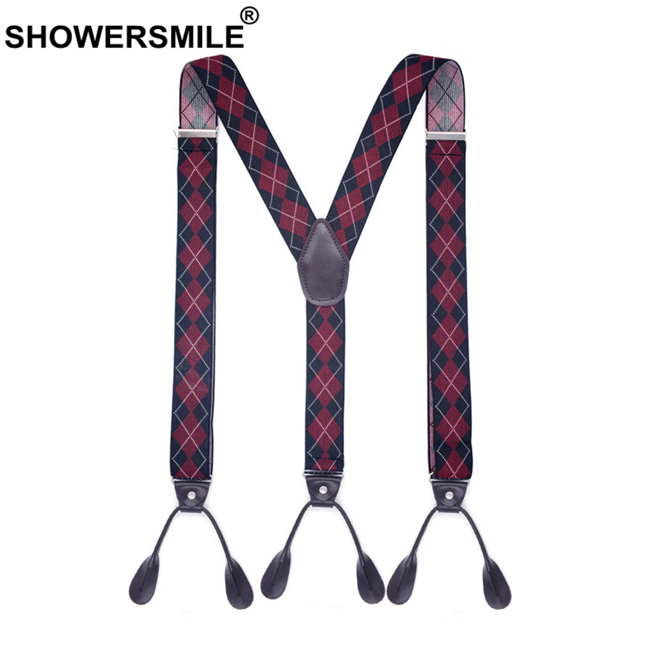 SHOWERSMILE Suspenders Button Y Back Argyle Suspender For Men Vintage Wedding Elastic Male Shirt Suspender With 6 Buttons 120cm