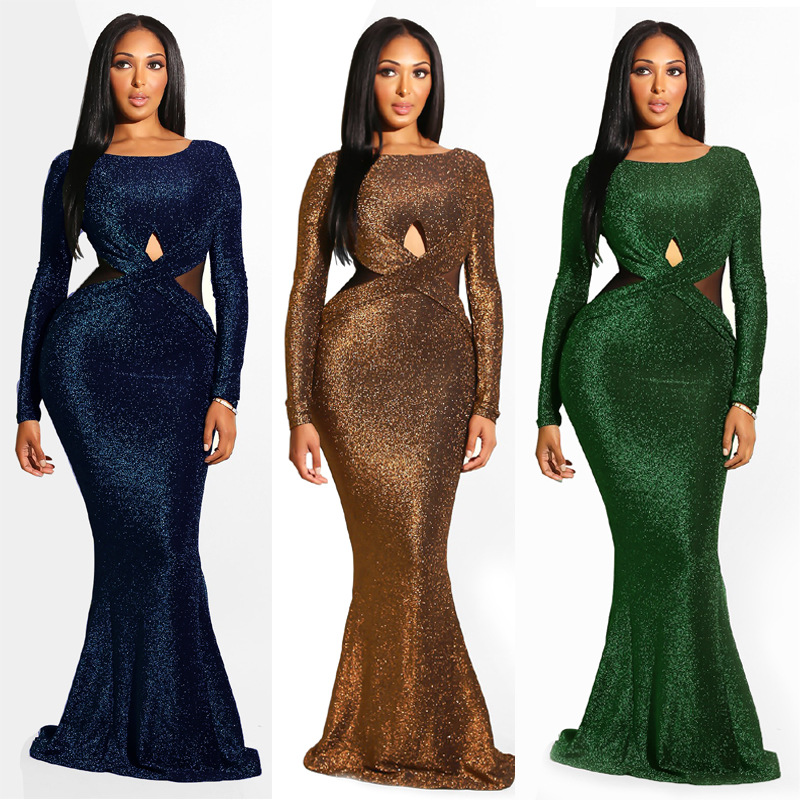 Image 3 - African Dresses For Women Floor Length Ropa Bazin Dashiki Long Sleeve Maxi Dress Party Club Formal Vestidos Africa ClothingAfrica Clothing   -
