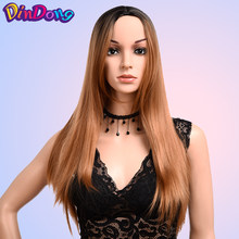 DinDong Long Straight Synthetic Wig 24 inch Glueless Heat Resistant Hair Middle Part Cosplay Long Wigs For Women(China)