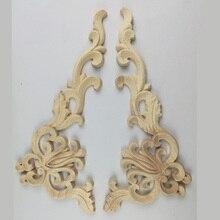 4 Uds. Calcomanía tallada de flores de madera de roble Vintage apliques de esquina marco decorativo figuritas de madera gabinete artesanías decorativas 20x10CM