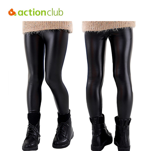 fa8014e0e844a Actionclub Girls Winter Pants Kids Warm Thicken Trousers PU Leather  Leggings Baby Girls Velvet Pants Children