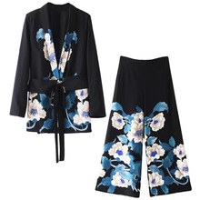 Set female summer new style temperament fashion Japanese-style kimono suit + high waist wide leg pants casual two-piece MT
