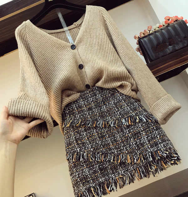 2019 Autumn Winter Womans V-necked Cardigan Knitted Coat + High-waisted Tweed Skirt Two Piece Girl Ladies Skirts Set Outfits