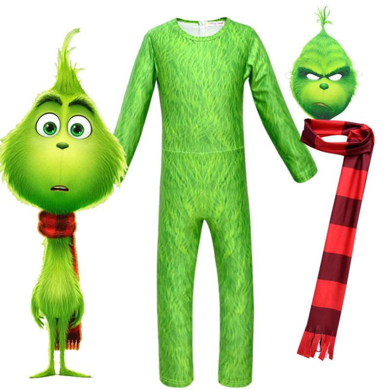 ZSQH Grinch New fashion kids costume The Grinch bodysuit How The Grinch Jumpsuits Stole Christmas Cosplay mask for kids