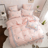4pcs Luxury Egypt Cotton Fresh Dots Ruffles Bedding set Lovely Embroidered Duvet Cover set Bed skirt pillowcases Queen size