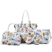 2017 simple y casual bolso de la manera 6 unids/set bolso grande brillante femenina impresión de la historieta bolsas de hombro bolsa de mensajero de las mujeres