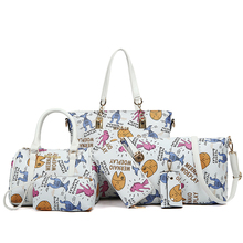 2017 simple and casual fashion handbag 6 pcs set big bag bright female cartoon printing women