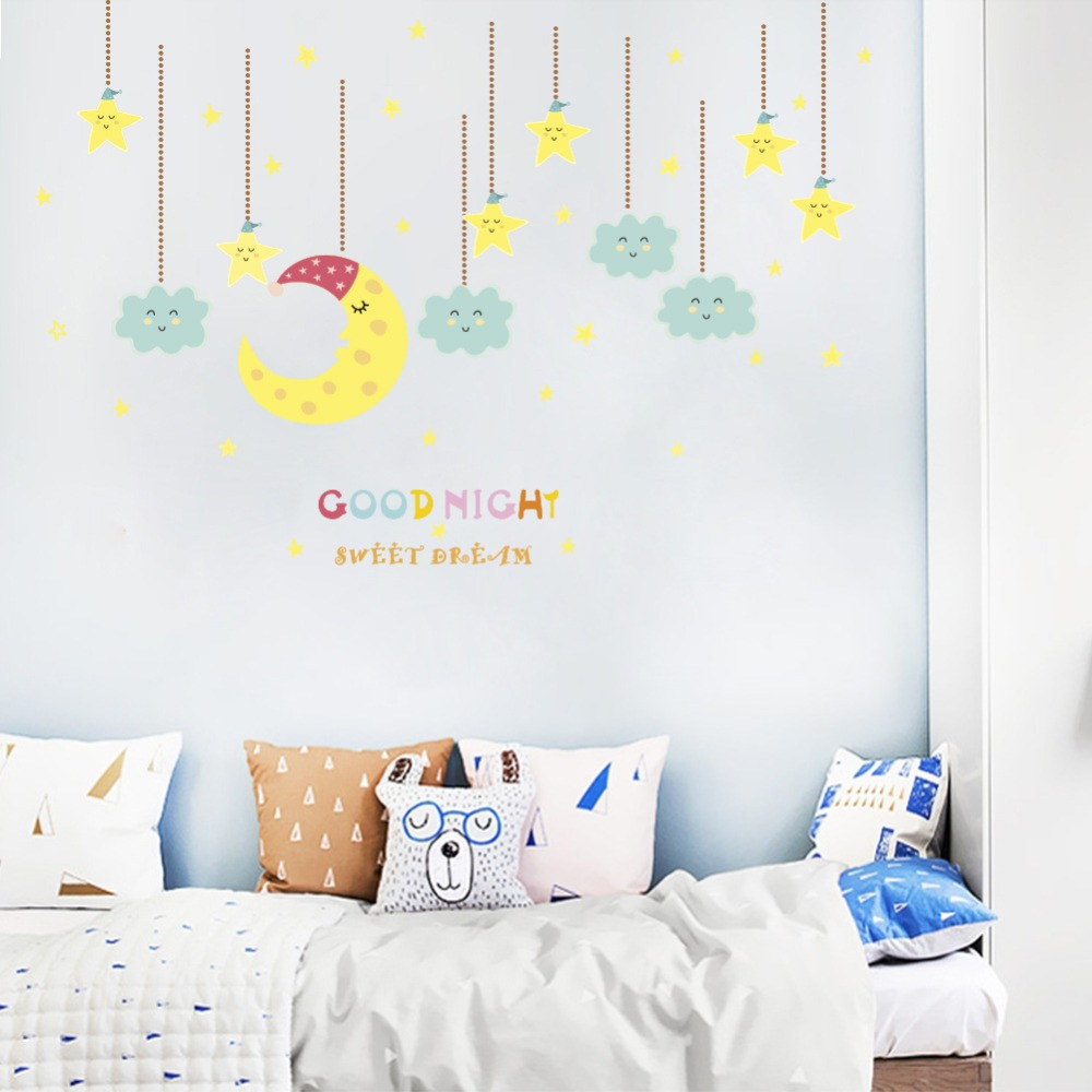 Clouds Moon And The Stars Wall Stickers For Kids Nursery