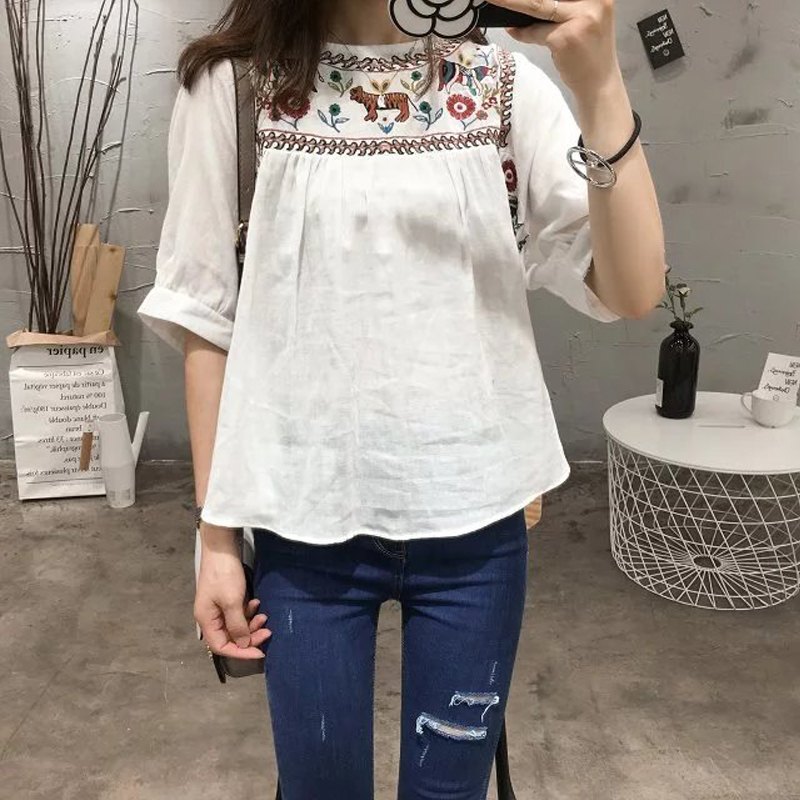 Causey Cotton Shirt Casual Summer Floral Embroidery Lace-up O-Neck Blouse Half Sleeve Shirt Ladies Casual Boho Tops ...