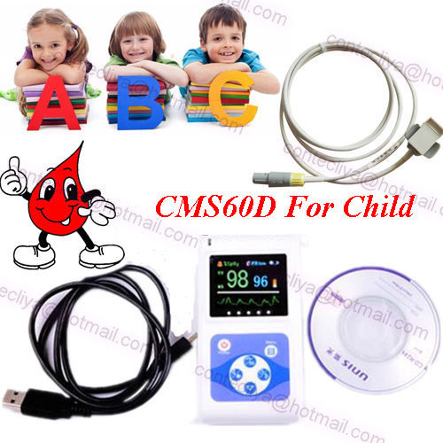 NEW CE OLED Handheld pulse oximeter,spo2 PR monitor for child,CMS60D,PC Software
