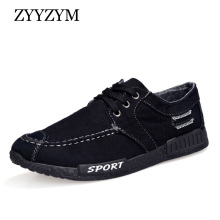ZYYZYM Men Canvas shoes Lace-Up Denim Retro Style Breathable Sneakers Casual Student Shoes For Man
