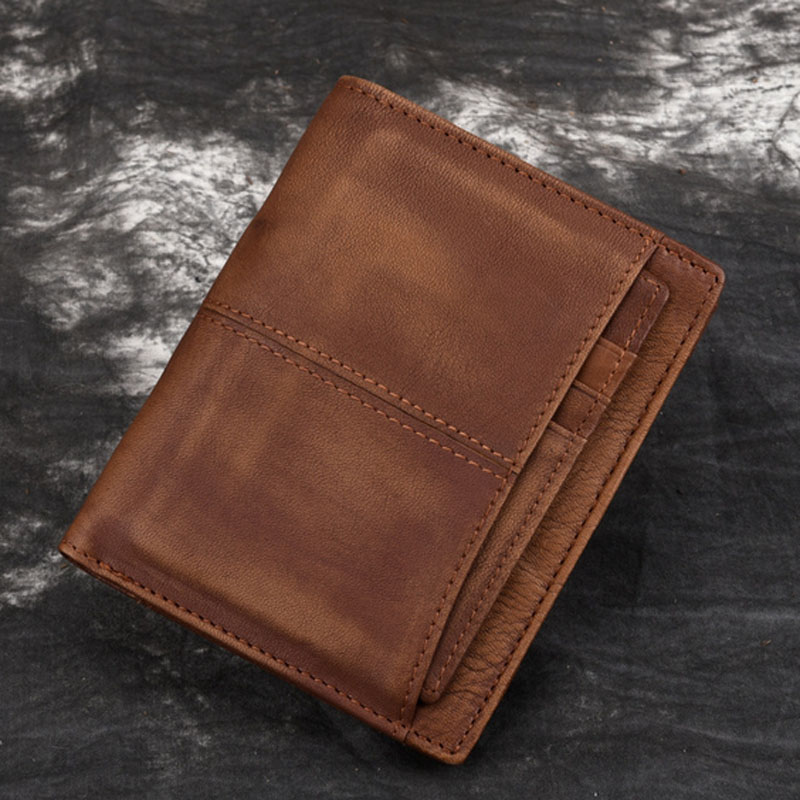 BULL CAPTAIN Men Oil Wax Cowhide Bifold Wallet Small Clutch Money Bag Famous Brand Coin Pocket Card Holder Male Short Purse men wallets famous brand luxury genuine leather short bifold wallet mens clutch card holder male purse money bag coin pouch