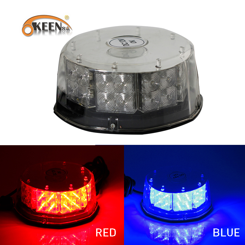 OKEEN 32LED 16W Red/Blue Car Police Strobe Flash Light magnetic Ceiling Dash Emergency Warning 3 Flashing Fog Lights