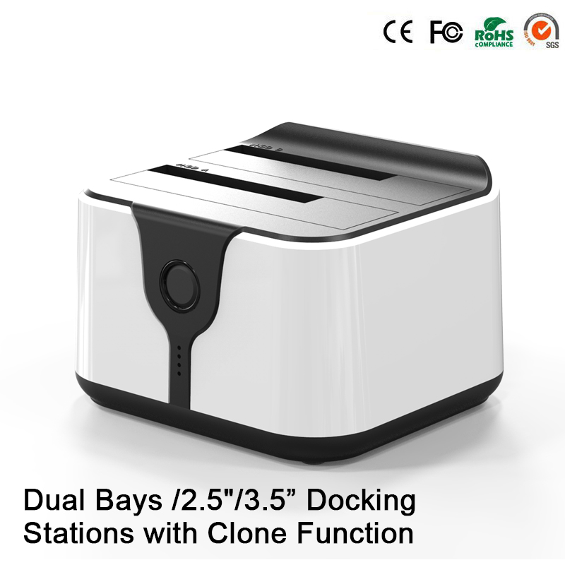 HD05 Amélioré! 2 baies 2.5/3.5USB 3.0 à SATA HDD SSD Station d'accueil double baie Station d'accueil avec fonction Clone prise 12 to lecture - 5