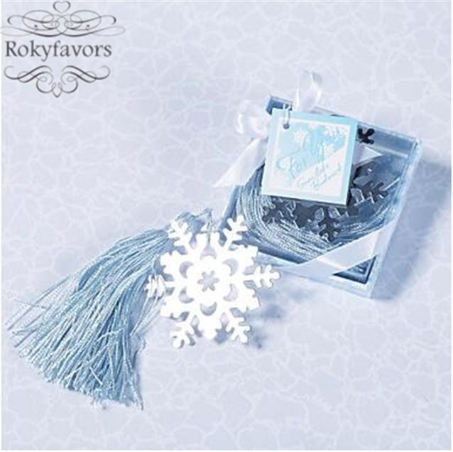 Free Shipping 50pcslot Snowflake Bookmark Party Favors Bridal