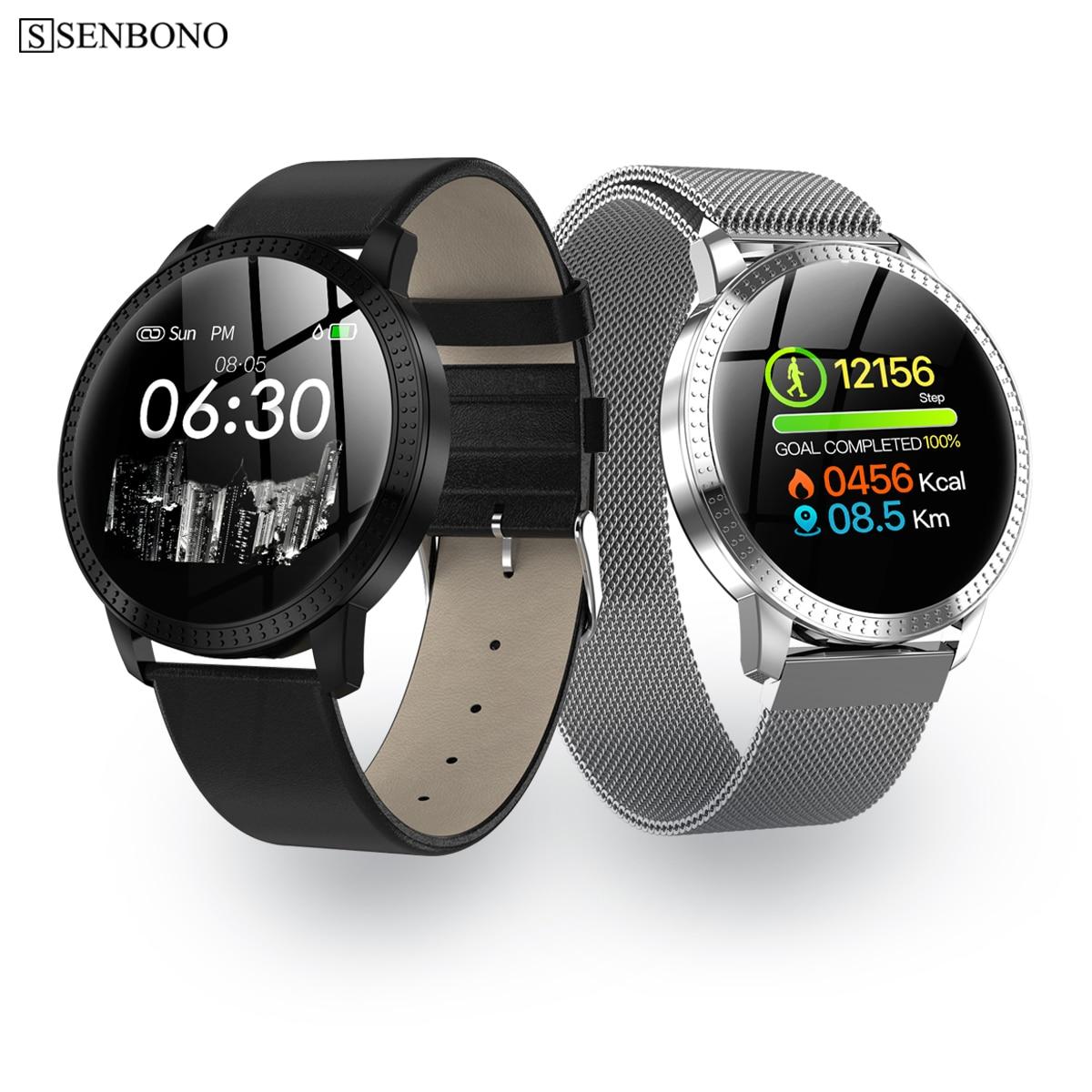 SENBONO CF18 de moda reloj inteligente pantalla ronda reloj impermeable de los hombres rastreador de actividad Fitness Bluetooth mujeres Smartwatch
