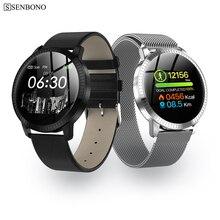 SENBONO CF18 moda akıllı saat yuvarlak ekran saati su geçirmez erkekler fitnes aktivite takip cihazı Bluetooth kadın Smartwatch