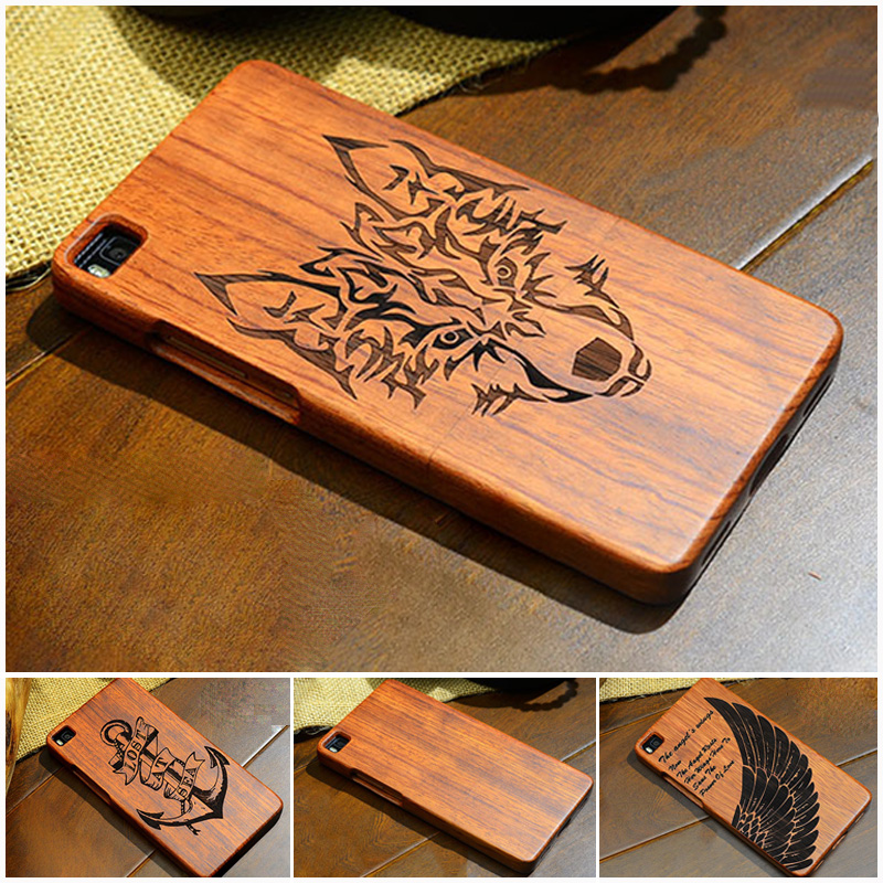 Luxury Vintage Retro Flower Wolf Real Handmade Wood Case For Huawei Mate 7 Mate 8 Mate