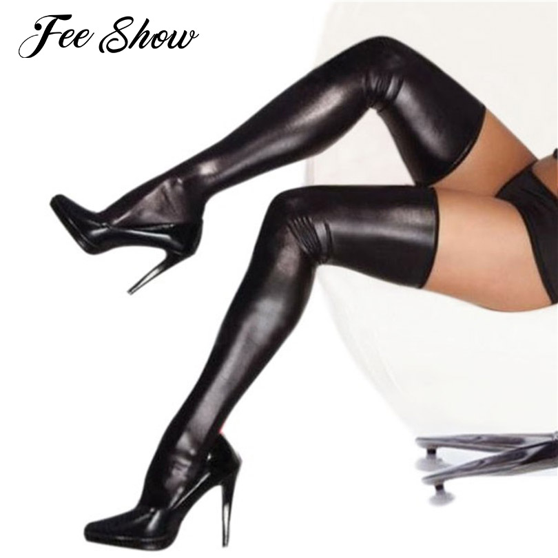 Black/Golden/Red Hot Sexy Night Club Latex Stockings Faux Leather Stockings Womens Overknee Faux Leather Fetish Sexy Stockings