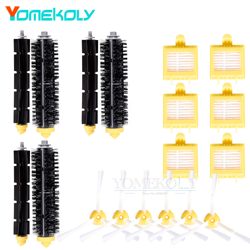 18pc/set Bristle & Flexible Beater Brush & Hepa Filter & Side Brush kit for iRobot Roomba 700 Series Vacuum Robots Cleaner Parts replacement beater bristle brush hepa filter 3 armed side brush screws for irobot roomba 700 series vacuum cleaning robots